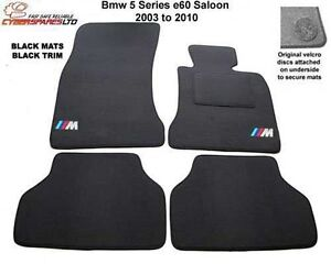 BMW 5 Series E60 Saloon 2003 to 2010  M Sport Tailored Car Mats velcro lock