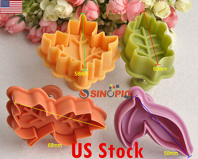 4 pcs Set Maple Oak Basic and Double Leaf Plunger Cookie Cutters Cookies Mold US