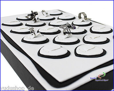 Vorlagebrett Schmuckkasten mit 18 x Ringträger in Herz -Form weiss/schwarz