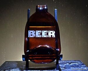 NEW Vintage Stubby Beer Slumped Bottle - Soap Dish - Etched