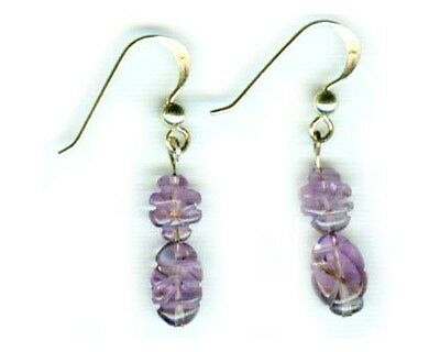 Antique Lavender Amethyst Gemstone of Ancient Greek Zeus 14kt GF French Hooks