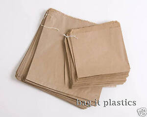 BROWN & WHITE KRAFT / SULPHITE STRUNG PAPER BAGS - FOOD/SANDWICH/GROCERIES