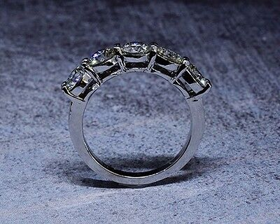 3.00 Ct. Hand Crafted 5-Stone Natural Round Cut Diamond Band - GIA Certified 2