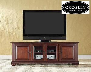 NEW* CROSLEY LOW PROFILE TV STAND - 111932708 - 60 INCH IN VINTAGE MAHOGANY