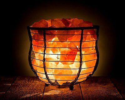 HemingWeigh Natural Air Purifying Himalayan Salt Metal Basket Bowl Lamp 8x7.1...
