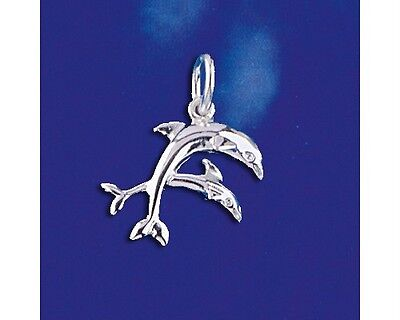 Sterling Silver Dolphin Pendant Two Dolphins Marine Ocean Charm Solid 925 Italy ()