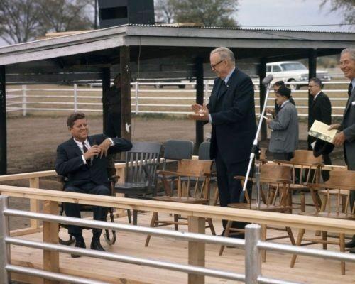 President John F. Kennedy in Oklahoma with Senator Robert Kerr New 8x10 Photo