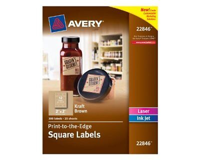 Avery Print-to-edge Kraft Brown Square Labels - 2 Width X 2 Length - 300