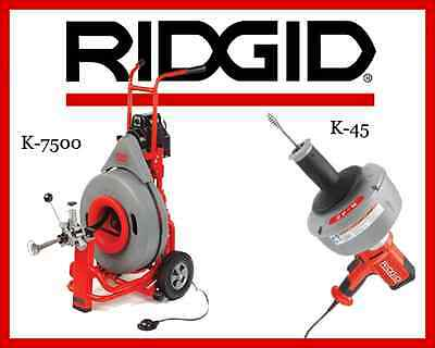 Ridgid K-45-1 Sink Machine 36013 Ridgid K-7500 Drum Machine 60052