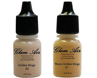 Set of Two (2) Glam Air Airbrush Foundation Makeup S6 Warm Golden Beige & S7 Sum Face