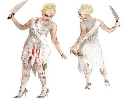 Horror MISS WORLD ZOMBIE Damen Kostüm 46/48 (XL) Untote blutiges Kleid Halloween (Miss Zombie Halloween)