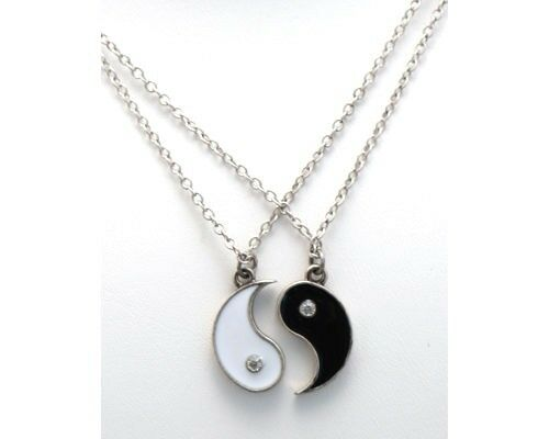 BEST FRIENDS Ying and Yang  Yin Rhinestones 2 Pendants 2