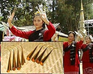 THAI DANCE Brass Finger Claw Nails-Thailand-Set Of 8-Belly Dance-FREE SHIPPING