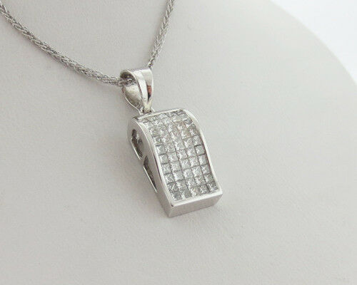 "Genuine 1.75cttw Diamonds Solid 18k White Gold Invisible Set Pendant 18"" Chain"