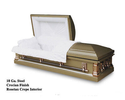 Brand New 18 Gauge Steel Coffin Casket - Crecian Finish