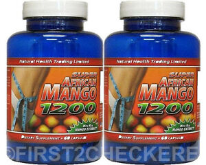 2 Super African Mango 1200 Extract Burn Fat Weight Diet Loss Irvingia Gabonensis