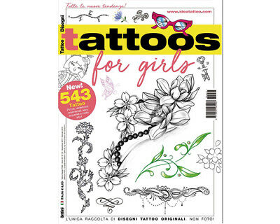TATTOO FOR GIRLS Flash Design Book 64-Pages Sketch Black Color Ink Supply](Color Books For Girls)