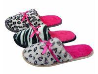 Wholesale Clearance Joblot: 36 x Ladies Animal Print Memory Foam Mule Slippers