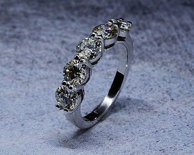 3.00 Ct. Hand Crafted 5-Stone Natural Round Cut Diamond Band - GIA Certified