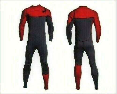 New Red Gray Chest Zip Wetsuit 3mm Neoprene Full Body Front Zipper Surf Scuba