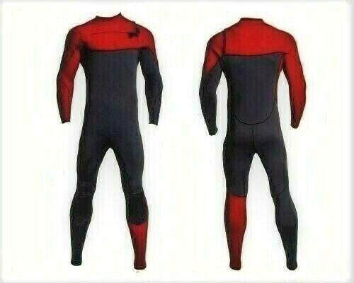 New Red Gray Chest Zip Wetsuit 3mm Neoprene Full Body Front