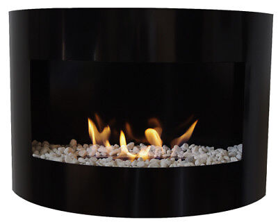 Bio Ethanol Fireplace RIVIERA DELUXE Black Wall Fire Place + Firebox 1L +Pebbles
