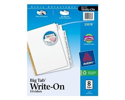 Avery Write-on Index Dividers Erasable Laminated White Tabs White 3 Sets Of 8