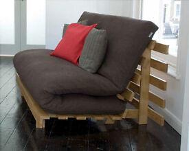 Futon Company Orlando Brown Double Sofa Bed Cover Hardwood Base