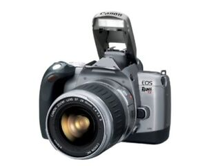 Used Canon Rebel T2 fully automatic 35mm autofocus SLR camera.