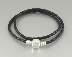 Double wrap braided leather charm bracelet silver plated love clasp charms beads