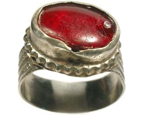 """Intricate 18thC Crimean Tatar Silver Alloy Ruby Red Glass """"Gemstone"""" Ring Sz 10"""