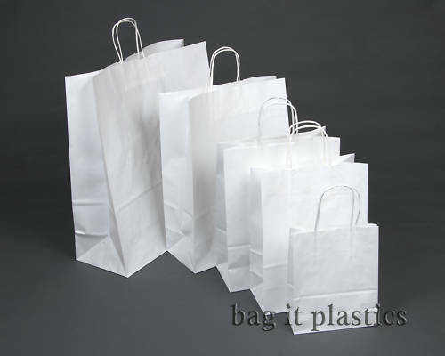 WHITE & BROWN RIBBED TWIST HANDLE GIFT  PAPER CARRIER BAG / BAGS