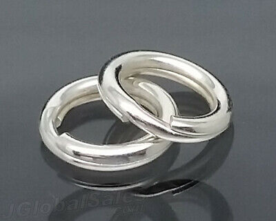 Genuine Solid 925 Sterling Silver 7mm Round Split Key Ring Bail Jewelry Finding