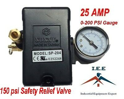 25 Amp Air Compressor Pressure Switch 4 Port 95-125 Psi W Gauge Pop Off Valve