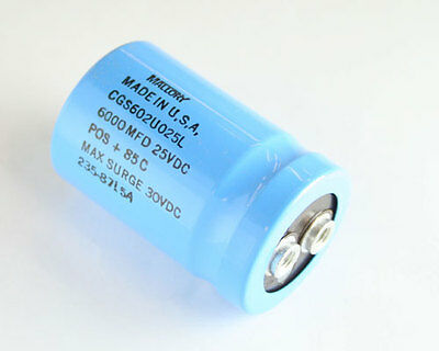 Lot Of 4 Mallory 6000uf 25v Large Can Electrolytic Capacitor Cgs602u025l