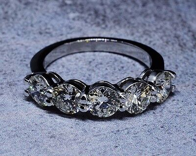 3.00 Ct. Hand Crafted 5-Stone Natural Round Cut Diamond Band - GIA Certified 1