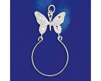 Sterling Silver Butterfly Charm Holder Pendant Italian