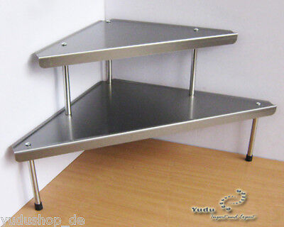 Drei Regal (Eckregal Küchenregal dreieckig 2 Ebenen Edelstahl)