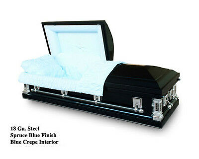 Brand New 18 Gauge Steel Coffin Casket - Spruce Blue Finish