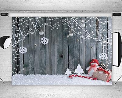 7X5ft Wooden Floor Walls Christmas Snowflake Photography Backdrops For Xmas Eve