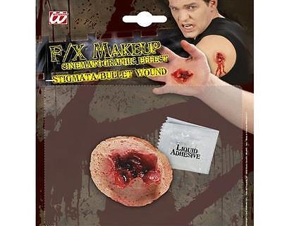 FX MAKE UP Latex Effekt SCHUßWUNDE STIGMATA Wunde Verletzung Einschußloch  4159
