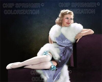 GINGER ROGERS Sexy White Stockings   8x10 Cheesecake COLOR PHOTO @ CHIP SPRINGER ()
