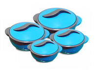 Pinnacle Parisa 4pc Round Blue Solid Heat Insulated Food Storage Hot Pot Casserole Set