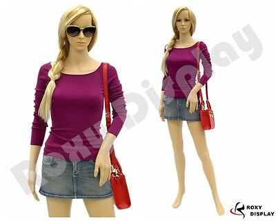 Female Mannequin Plastic Realistic Display Head Turns Dress Form G4 Free Wig