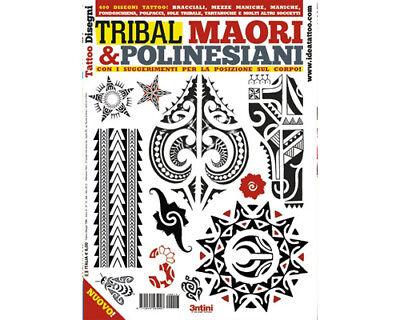 TRIBAL MAORI POLYNESIAN Tattoo Flash Design Book 64-Pages Color Black White Art