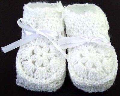 Baby Knitted Crochet Booties Newborn Size  - White Color 12 Pairs Lot (00215W ^*