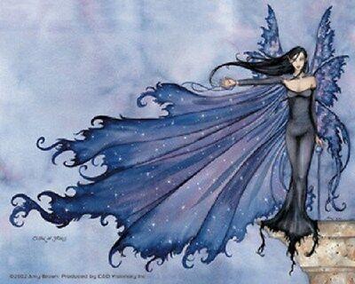Amy Brown Sticker Decal Fairy Faery Cloak of Stars Sky Night Purple Blue Cape