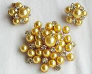 Vintage Rhinestone Brooch Earrings