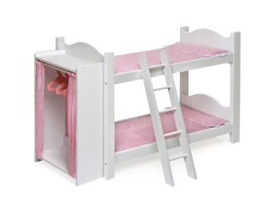 Badger Basket Doll Bunk Beds With Ladder and Storage Armoire Fits American Girl