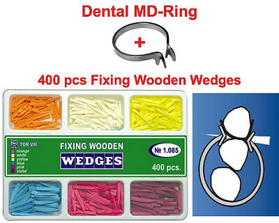 400 Pcs Dental Full Set Of Fixing Wooden Wedges Md Ring For Dental Matrices